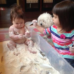 flour sensory bin 2