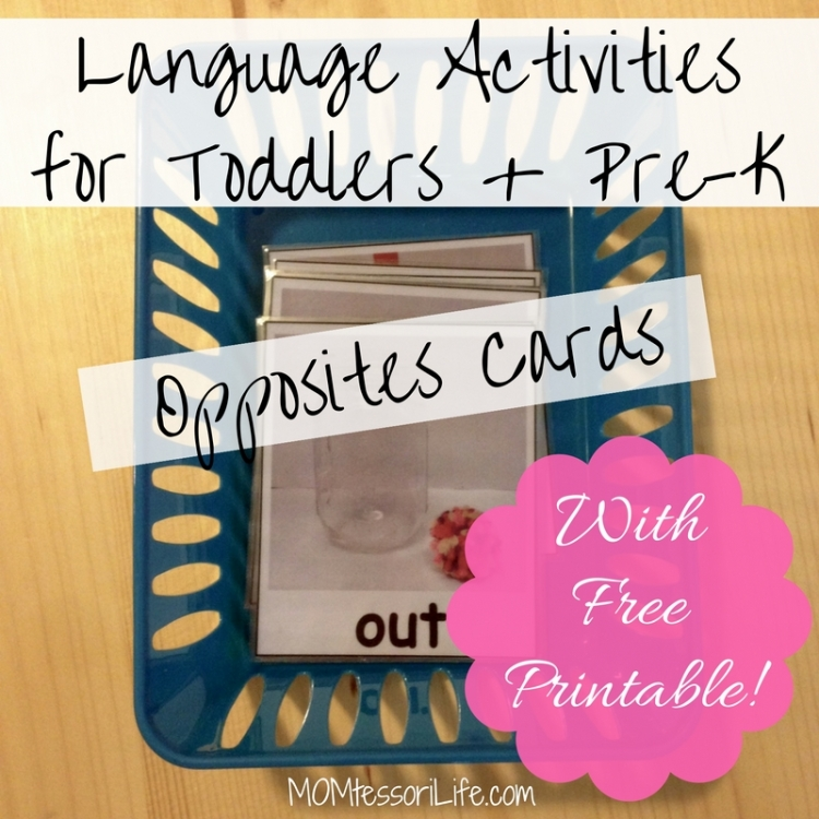 Language Activities for Toddlers and Preschoolers -- Opoosites Cards with Free Printable