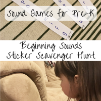 Sound Games for Preschoolers -- Beginning Sounds Sticker Scavenger Hunt