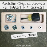 Montessori-Inspired Activities for Toddlers & Preschoolers -- Screwdriver Board