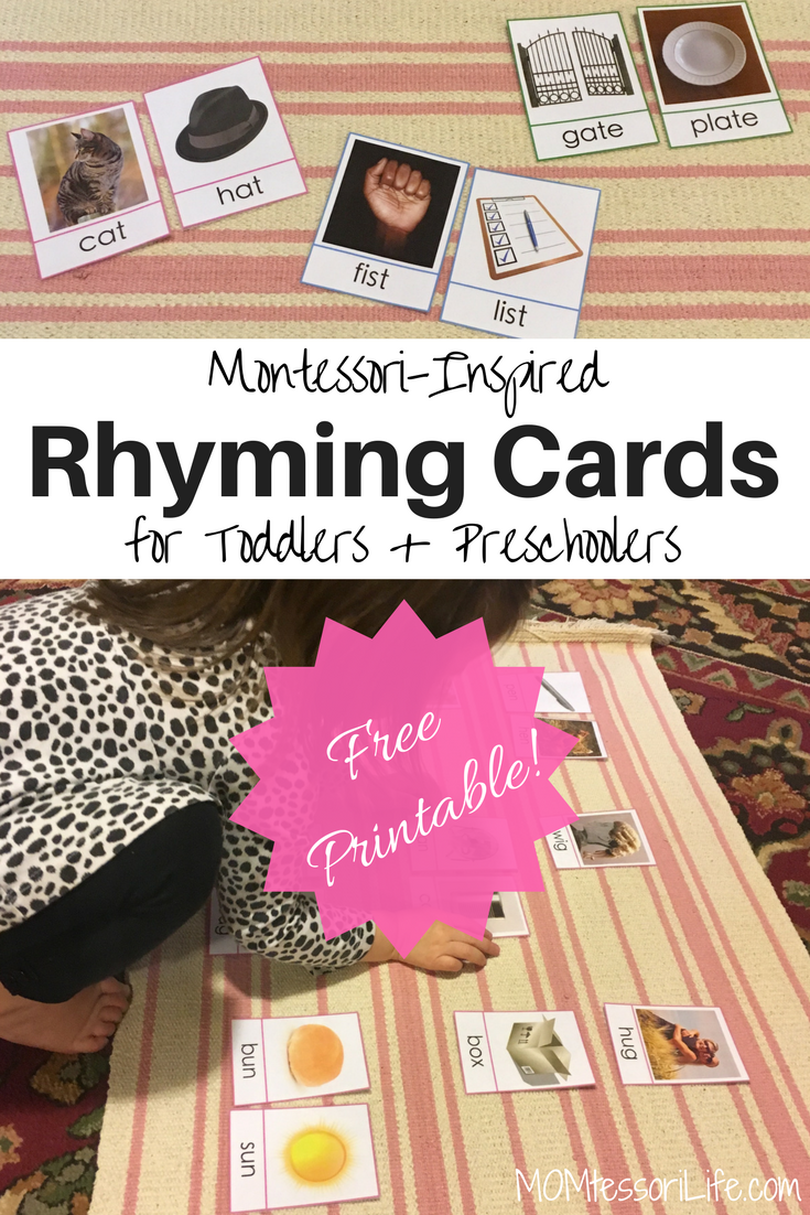 photo about Printable Rhyming Cards identified as Montessori-Influenced Rhyming Playing cards for Babies